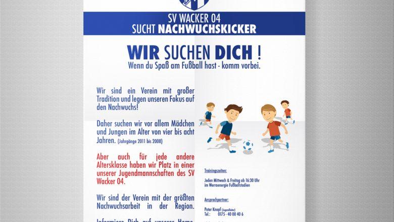 SV Wacker 04 Bad Salzungen Fußball Poster Rekrutierung F-Jugend Bambini