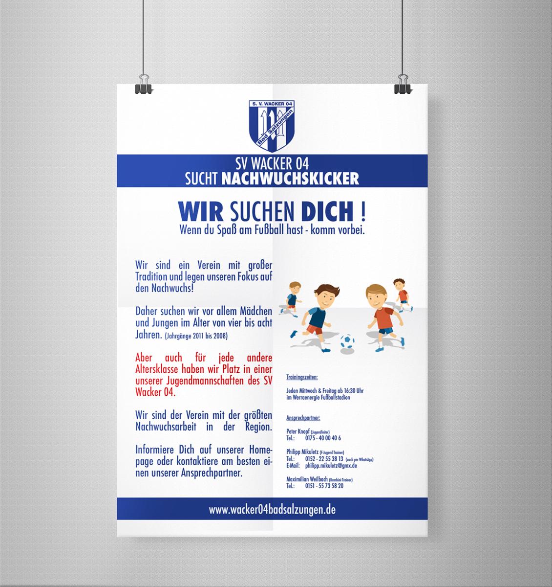 Werbemittel SV Wacker 04 Bad Salzungen Fußball Poster Rekrutierung F-Jugend Bambini Plakat Layout Grafik Design Kommunikationsdesign