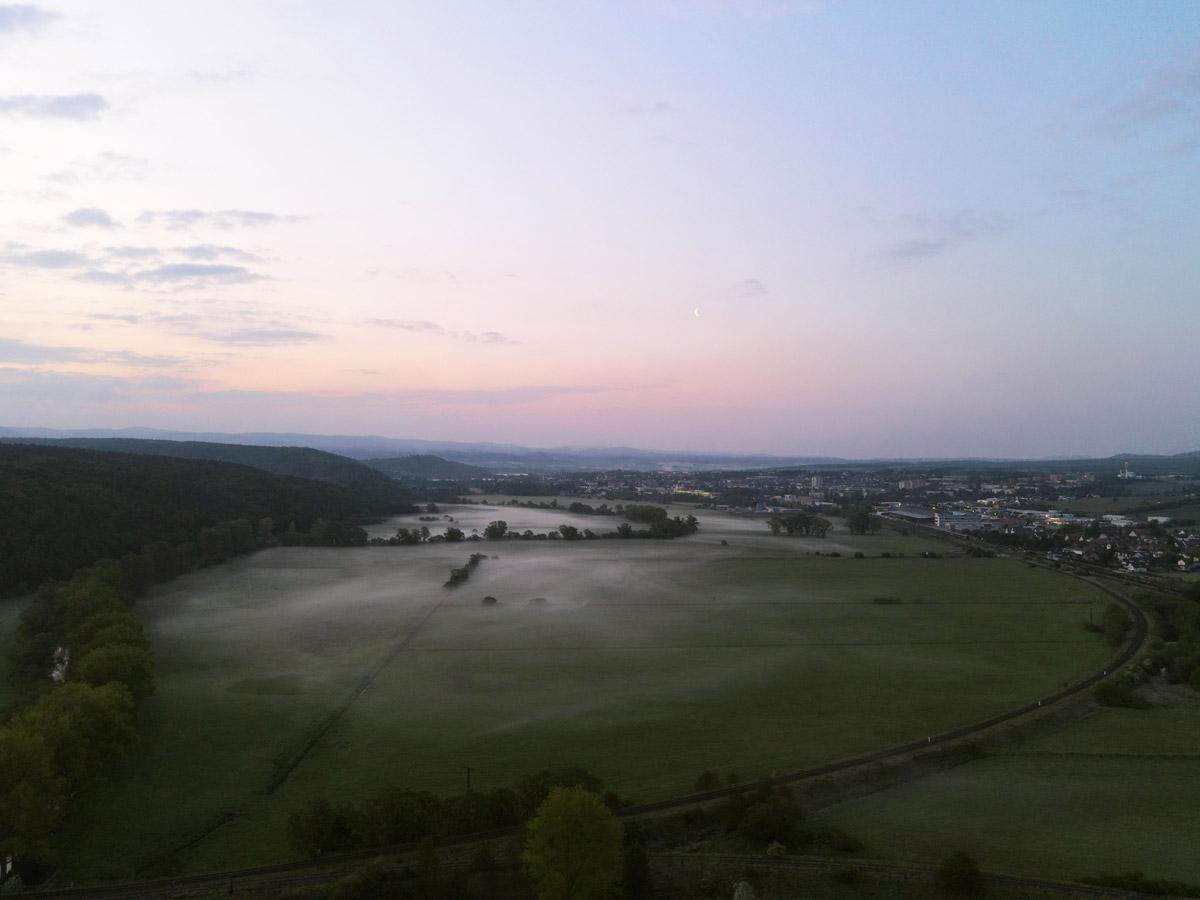 Luftaufnahme aerial view Bad Salzungen von Oben Morgennebel